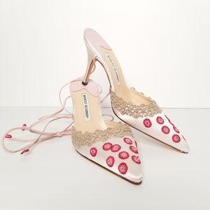Manolo Blahnik  Floral Embroidered Ankle Tie Pump